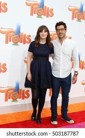 LOS ANGELES - OCT 23:  Zooey Deschanel, Jacob Pechenik at the Trolls Premiere at Village Theater on October 23, 2016 in Westwood, CA