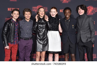 "LOS ANGELES - OCT 26:  Noah Schnapp, Gaten Matarazzo, Millie Bobby Brown, Sadie Sink, Caleb McLaughlin, Finn Wolfhard arrives ""Stranger Things 2"" event October 26, 2017 in Westwood, CA"