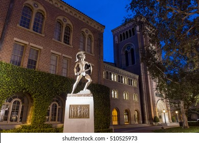 Los Angeles, OCT 27: Campus of the University of Southern California at night on OCT 27, 2016 at Los Angeles