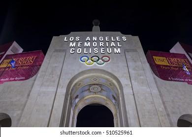 Los Angeles, OCT 27: Los Angeles Memorial Coliseum at night on OCT 27, 2016 at Los Angeles