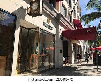 LOS ANGELES, Oct 27th, 2018: Exterior of the Rolex store on famous Rodeo Drive in Beverly Hills, California, on a sunny day.