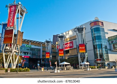 LOS ANGELES - OCT 30, 2011: Nokia Plaza at LA Live in the early morning before the Rock 'n Roll Marathon in Los Angeles on October 30, 2011.