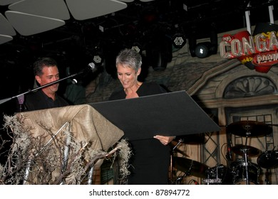 LOS ANGELES - OCT 30:  Malek Akkad, Jamie Lee Curtis speaks at the sCare Foundation Halloween Launch Benefit at Conga Room - LA Live on October 30, 2011 in Los Angeles, CA