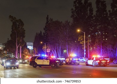 Los Angeles, OCT 31: Many police cars blocking the road near Beverly center on OCT 31, 2017 at West Hollywood, Los Angeles, California, United States
