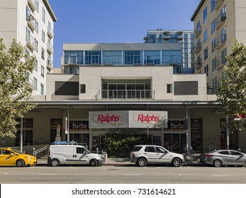 Los Angeles, OCT 5: Exterior view of the downtown Ralphs supermarket on OCT 5, 2017 at Los Angeles, California, United States