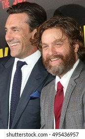 """LOS ANGELES - OCT 8:  Jon Hamm, Zach Galifianakis at the """"Keeping Up with the Joneses"""" Red Carpet Event at the Twentieth Century Fox on October 8, 2016 in Los Angeles, CA"""