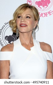 """LOS ANGELES - OCT 8:  Melanie Griffith, note tattoo of """"Antonio"""" almost gone! at the 2016 Carousel Of Hope Ball at the Beverly Hilton Hotel on October 8, 2016 in Beverly Hills, CA"""
