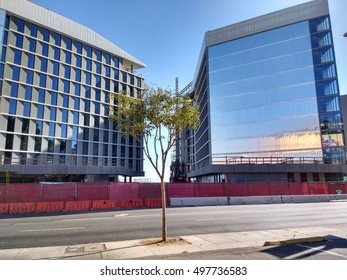 LOS ANGELES, OCT7TH2016:A shadow is cast over the Sunset Strip by the 286-room James Hotel set to be completed in 2016.Construction is transforming the landscape of the Strip,home to many famous clubs