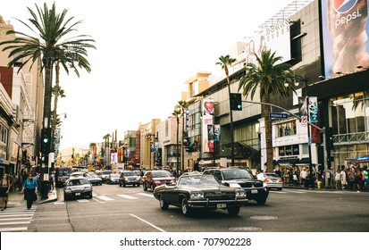 LOS ANGELES - OCTOBER 12, 2015: View of Hollywood Boulevard at sunset. In 1958, the Hollywood Walk of Fame was created on this street as a tribute to artists working in the entertainment industry