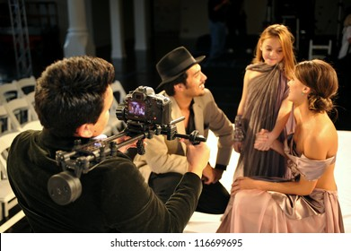 LOS ANGELES - OCTOBER 18: Model giving interview after Fashion Show during Style Fashion Week at Vibiana, 214 S. Main Street on October 18, 2012 in Los Ageles, CA