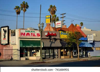 Los Angeles - October 2017: Several Kosher storefronts in the Pico-Robertson neighborhood. This west side neighborhood is known for its diversity and being a center for the Jewish community.