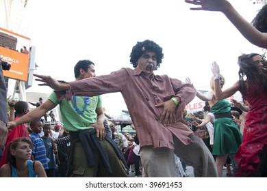 """LOS ANGELES - OCTOBER 24: Man dressed as a zombie for the record breaking 2009 Thrill the World. Over 3000 danced to """"Thriller"""" on October 24, 2009 in Los Angeles."""