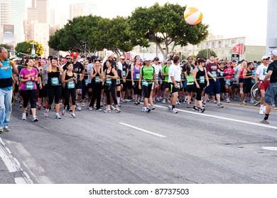 LOS ANGELES - OCTOBER 30: Rock 'n Roll Marathon at LA Live in Los Angeles on October 30, 2011.