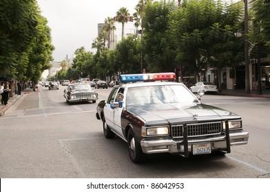 LOS ANGELES - OCTOBER 4: Vintage Police Car Parade in Hollywood on October 4, 2011 in Los Angeles, CA.