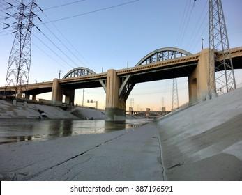 Los Angeles river bridge at dusk - landscape color photo
