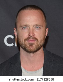 LOS ANGELES - SEP 06:  Aaron Paul arrives to the NETFLIX: PaleyFest Fall TV Previews 2018  on September 6, 2018 in Hollywood, CA