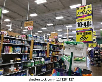 LOS ANGELES, Sep 1, 2018: Interior shot of liquidation final sale signs inside an OSH Orchard Supply Hardware store in West LA. The chain is set to close for good on October 20th
