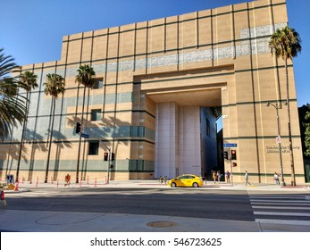 LOS ANGELES, SEP 10, 2016: Wide exterior shot of the Arts of the Americas Building at LACMA, the Los Angeles County Museum of Art, against a blue sky. The building is set to be torn down in 2020.