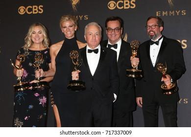 LOS ANGELES - SEP 17: Erin Doyle, Lindsay Shookus, Lorne Michaels, Steve Higgins, Erik Kenward at the Emmy Awards - Press Room at the JW Marriott Gold Ballroom on September 17, 2017 in Los Angeles, CA