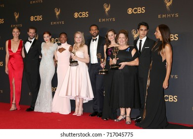 LOS ANGELES - SEP 17:  Handmaids Tale Cast at the 69th Primetime Emmy Awards - Press Room at the JW Marriott Gold Ballroom on September 17, 2017 in Los Angeles, CA