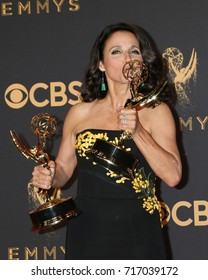 LOS ANGELES - SEP 17:  Julia Louis-Dreyfus at the 69th Primetime Emmy Awards - Press Room at the JW Marriott Gold Ballroom on September 17, 2017 in Los Angeles, CA