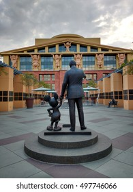 """LOS ANGELES, SEP 19TH,2016:The Partners Statue,depicting Walt Disney and Mickey Mouse, in front of the Seven Dwarfs Building (aka """"Team Disney Building"""") on the Walt Disney Studios lot in Burbank, CA."""