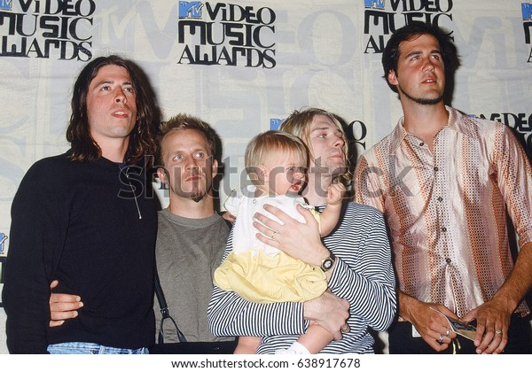 LOS ANGELES - SEP 2:  Nirvana, Frances Bean Cobain, Kurt Cobain at the 10th Annual MTV Video Music Awards at the Universal Ampitheater on September 2, 1993 in Los Angeles, CA