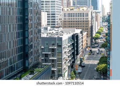 LOS ANGELES- SEP, 20 2017: View of Downtown Los Angeles, CA buildings