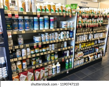 LOS ANGELES, SEP 22, 2018: A store shelf stocked with vitamins and minerals at a local Vitamin Shoppe health store.