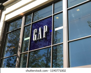 LOS ANGELES, SEP 22, 2018: Close up of the Gap logo above the Gap store at the Grove shopping mall at Third and Fairfax in Los Angeles on a sunny day.