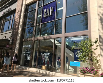 LOS ANGELES, SEP 22, 2018: Exterior of the Gap store at the Grove shopping mall at Third and Fairfax in Los Angeles on a sunny day.