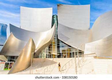 LOS ANGELES - SEP 28, 2015: Walt Disney Concert hall in Los Angeles, California. It was designed by  Frank Gehry and opened on October 24, 2003