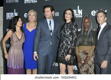 """LOS ANGELES - SEP 29:  Tamlyn Tomita, C Goodall, Richard Armitage, Michelle Forbes, April Grace, Leland Orser at the """"Berlin Station"""" Premiere at Milk Studios on September 29, 2016 in Los Angeles, CA"""