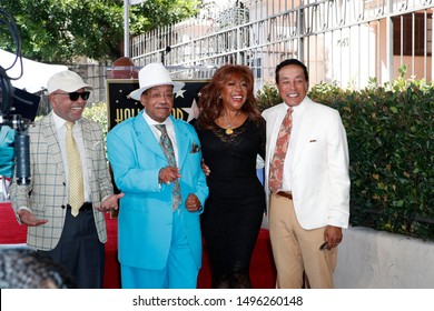 LOS ANGELES - SEP 4:  Berry Gordy, Marshall Thompson, Mary Wilson, Smokey Robinson at the Jackie Wilson Star Ceremony on the Hollywood Walk of Fame on September 4, 2019 in Los Angeles, CA