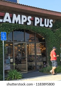 LOS ANGELES, Sep 8, 2018: A customer walks past the entrance to a Lamps Plus lighting store in West LA.
