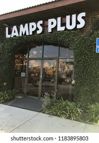 LOS ANGELES, Sep 8, 2018: Close up exterior of a Lamps Plus lighting store in West LA with Lamps Plus logo.