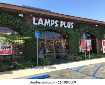 LOS ANGELES, Sep 8, 2018: Exterior of a Lamps Plus lighting store in West LA with Lamps Plus logo and blue sky.