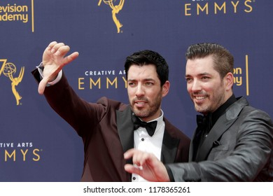 LOS ANGELES - SEP 9:  Drew Scott, Jonathan Scott at the 2018 Creative Arts Emmy Awards - Day 2 - Arrivals at the Microsoft Theater on September 9, 2018 in Los Angeles, CA