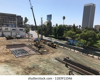 LOS ANGELES, Sep11, 2018: Aerial shot of the construction site at the SAG-AFTRA building at 5757 Wilshire Boulevard, where a 20-story residential tower is being built.