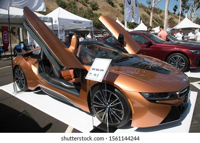 LOS ANGELES - SEPT 14: BMW's i8 on display at Charge Up LA!'s National Drive Electric Week event in Los Angeles on Sept. 14, 2019. BMW's i3 and i8 proved popular among attendees.