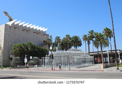 LOS ANGELES - SEPTEMBER 2018: Los Angeles County Museum of Art, LACMA, in September 2018 in Los Angeles. It is located on Wilshire Blvd on Museum Row in the Mag Mile neighborhood.