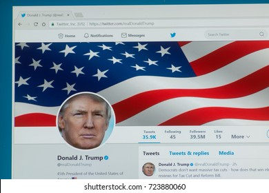 Los Angeles, september 28, 2017: Official twitter account for Donald Trump, the President of the United States of America