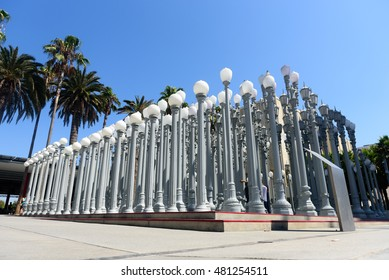 Los Angeles - September 8, 2016: Urban Lights by Chris Burden in Los Angeles Contemporary Art Museum (LACMA) on September 8, 2016 in Los Angeles, CA