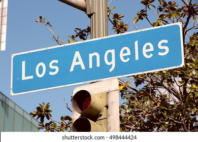 Los Angeles sign in California, USA. Directions sign.