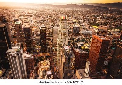 Los Angeles skyline aerial view