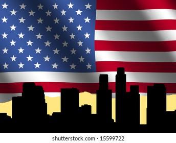 Los Angeles skyline against rippled American Flag illustration