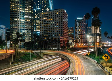 Los Angeles skyline cityscape view of the 110 Freeway at night, in downtown Los Angeles, California