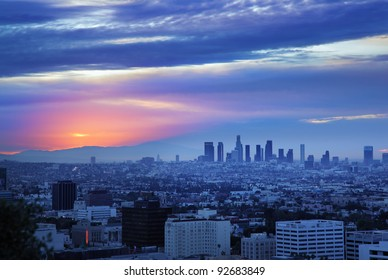 Los Angeles Skyline At Dawn View From Hollywood Hills