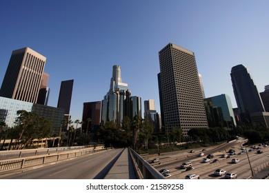 Los Angeles Skyline and Freeway