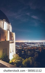 Los Angeles Skyline, Griffith Observatory, Night view with lights